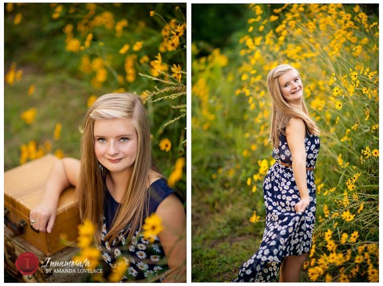 chattanooga photographers senior dressy yellow flowers dance floral