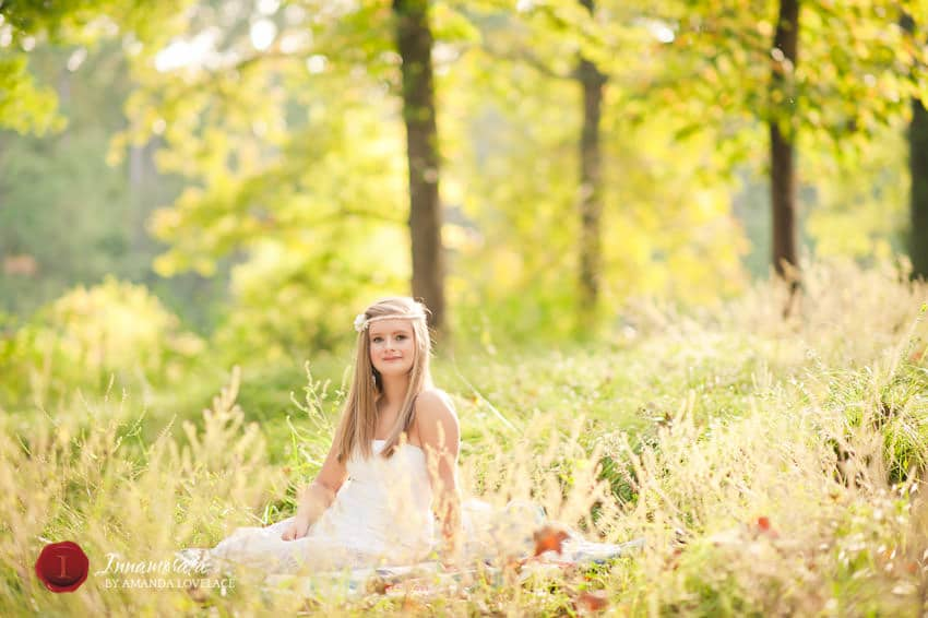 outdoor senior portraits woods spring airy