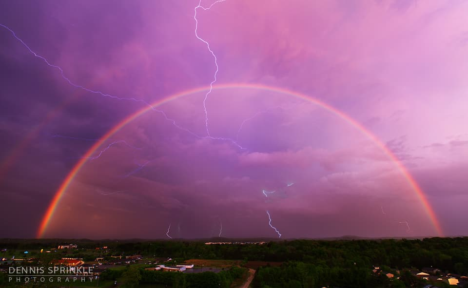Double Rainbow and Lightning over Cleveland