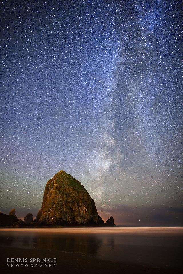 Haystack Rock Milky Way in Oregon