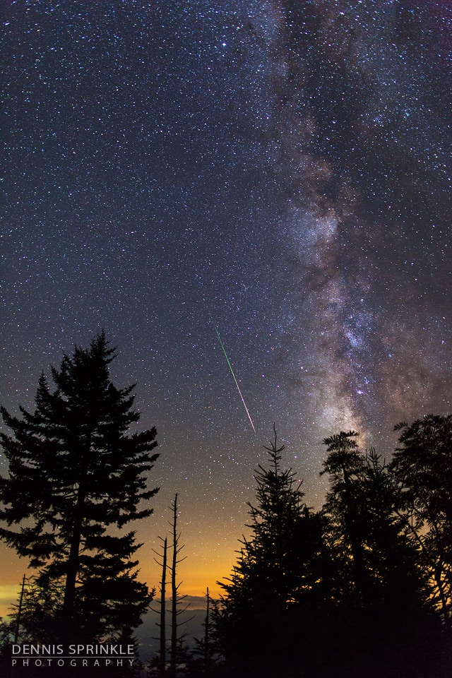Milky Way and Perseid Meteor at Clingmans Dome