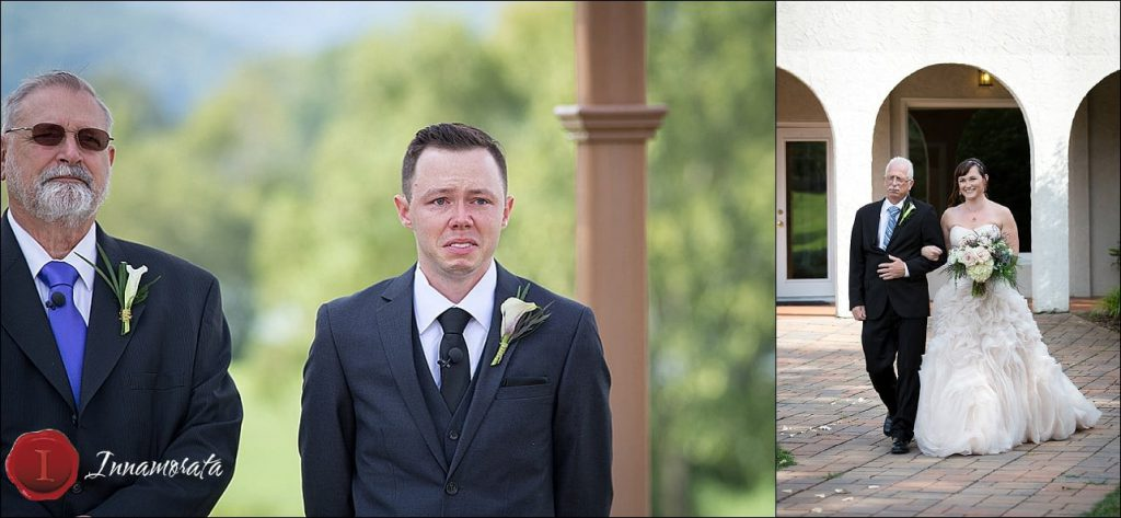 Teary eyed groom at Tennessee Riverplace